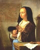 Франц ван Мирис Старший. Молодая женщина с перьями в руках