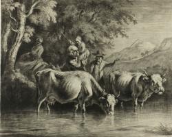 Жан-Жак де Буассье. Крупный рогатый скот и крестьяне переходят реку