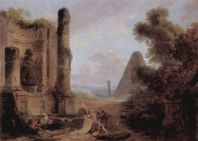 Hubert Robert. Fantastic landscape with a pyramid and temple ruins