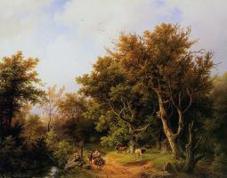 Баренд Корнелис Куккук. Лесной пейзаж с коровами
