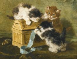Генриетта Роннер-Книп. Котята со шкатулкой и голубой лентой