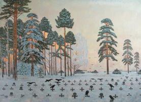 Евгений Александрович Казанцев. (Plan Barbarossa). German cemetery. oil on canvas 157 x 220cm. 2005.
