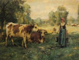 Жюльен Дюпре. Доярка с коровами и овцами