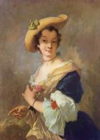 Христиан Вильгельм Эрнст Дитрих (Дитрици). Дама в соломенной шляпе