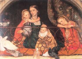 Артур Хьюз. Миссис Лейфарт с тремя детьми