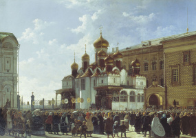 Religious procession at the Cathedral of the Annunciation in the Moscow Kremlin. 1860