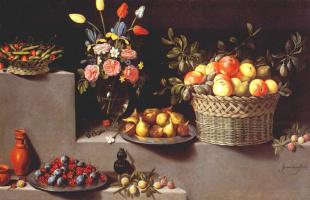Ван Дер Хамен. Натюрморт с цветами и фруктами
