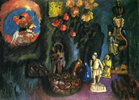 Gabriele Münter. Still life with statuettes