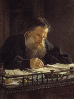 A portrait of the writer Leo Tolstoy