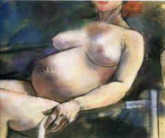 Рональд Китадж. Обнаженная беременная женщина