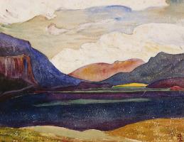 Giovanni Giacometti. Engadine landscape and lake Sils