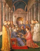 Фра Беато Анджелико. Святой Сикст возводит святого Лаврентия в диаконы. Фреска капеллы Никколина