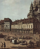 Джованни Антонио Каналь (Каналетто). Вид Дрездена, Новый рынок со стороны улицы Мориц, фрагмент