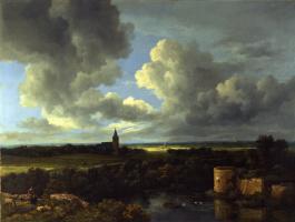 Якоб Исаакс ван Рейсдал. Пейзаж с разрушенным замком и церковью