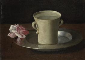 Франсиско де Сурбаран. Кубок с водой и роза