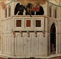 Дуччо ди Буонинсенья. Маэста, алтарь сиенского кафедрального собора, оборотная сторона, пределла со сценами Искушения Христа и Чудесами, Искушение