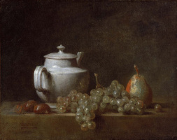 Jean Baptiste Simeon Chardin. Still life with teapot, grapes, chestnuts and a pear