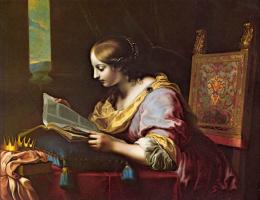 Карло Дольчи. Святая Катерина читает книгу