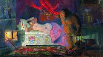 Boris Kustodiev. The merchant's wife and the house