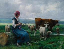 Жюльен Дюпре. Пастушка с козами, овцами и коровой