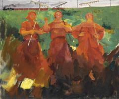 Three peasant women with a rake