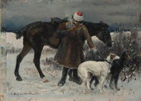 Сергей Семенович Ворошилов. Охотник с борзыми. 1894