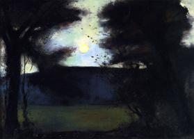 Lesser Ury. Moonrise in Grunewaldsee
