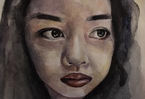 Портрет азиатской девочки акварелью