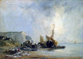 Richard Parkes Bonington. Boats on the shore of Normandy