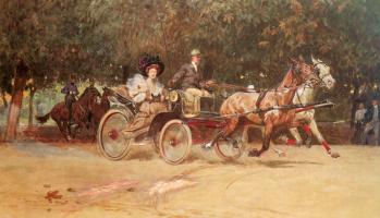 Людвиг Кох. Миссис Сашерс перевозят в Хаупталле из венского парка Пратер