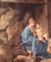 Джорджоне. Поклонение волхвов, деталь: Мария с младенцем Христом, волом и ослом