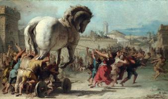 Джованни Доменико Тьеполо. Шествие троянского коня в Трою