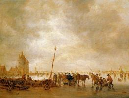 Ян ван Гойен. Катание на льду в солнечный день