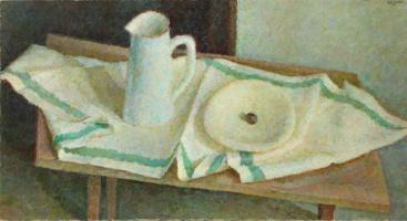 Владимир Григорьевич Вейсберг. Белый кувшин и тарелка на полотенце