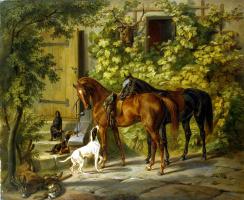Альбрехт Адам. Лошади у крыльца