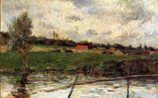 Paul Gauguin. Bank of the river (Breton landscape)