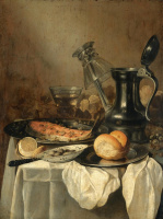 Питер Клас. Натюрморт с кувшином, хлебом, лимоном и оливками