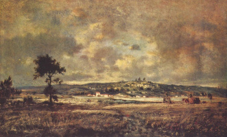 Theodore Rousseau. The storm bearing down on Montmartre