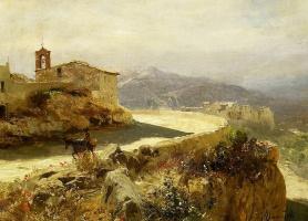 Генрих Ипполитович Семирадский. Итальянский пейзаж с ослом