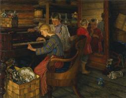 Николай Петрович Богданов-Бельский. Дети за пианино