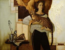 Александр Мельников. Девушка с оцелотом.  2004