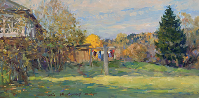 Alexander Victorovich Shevelyov. Behind the house in Sherehovichi.D.In.P.oil 30 x 60 cm 2014