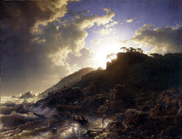 Andreas Achenbach. Sunset after a storm on the coast
