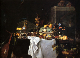 Ян Давидс де Хем. Натюрморт с десертом