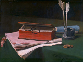 Francois Bonnen. Still life with book, papers and inkwell
