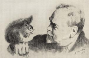 Аркадий Александрович Рылов. Автопортрет с белкой