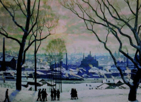 """Konstantin Fedorovich Yuon. """"Morning of industrial Moscow"""" 1949"""