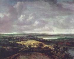Филипс Конинк. Речной пейзаж с песчаным холмом