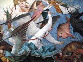 Питер Брейгель Старший. Падение мятежных ангелов. Фрагмент 4. Битва с мятежниками