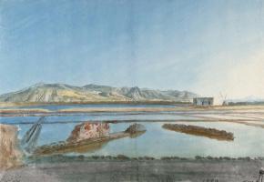 Жан-Пьер-Лоран Уэль. Развалины античной солеварни на острове Салина